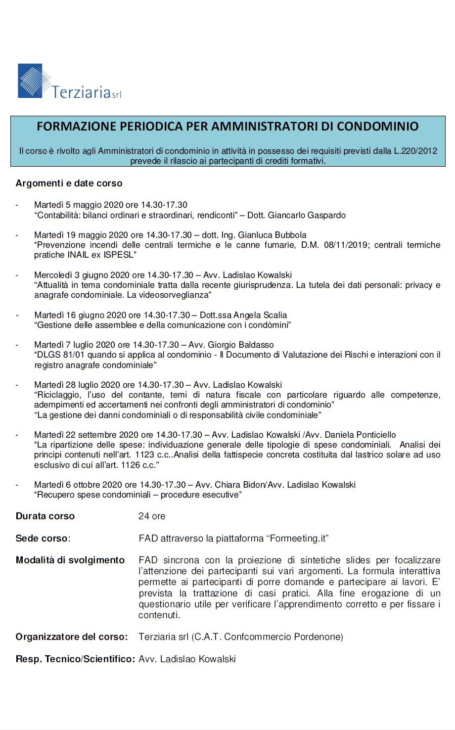 Corso formazione periodica 2020 - Abiconf Pordenone
